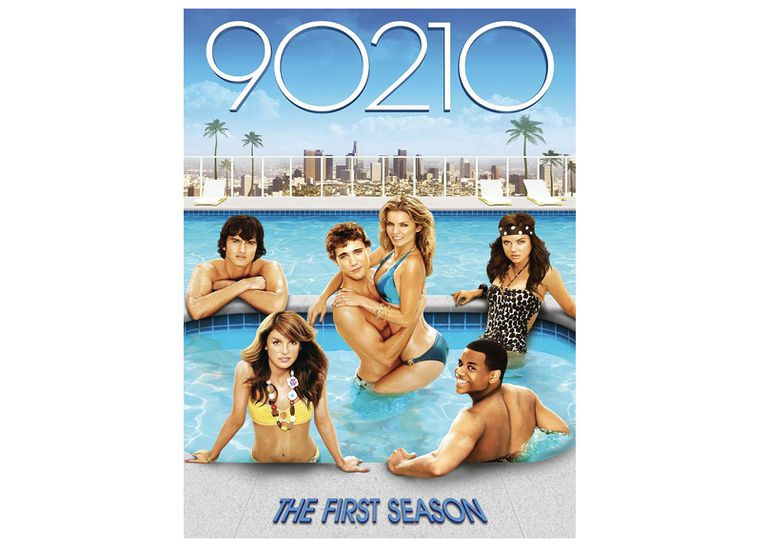 DVD cover of 90210 first season, young people in a pool