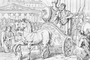 Illustration of Peisistratus Riding with Athena