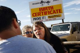 Obama supporter argues with someone who wants to see his birth certificate.