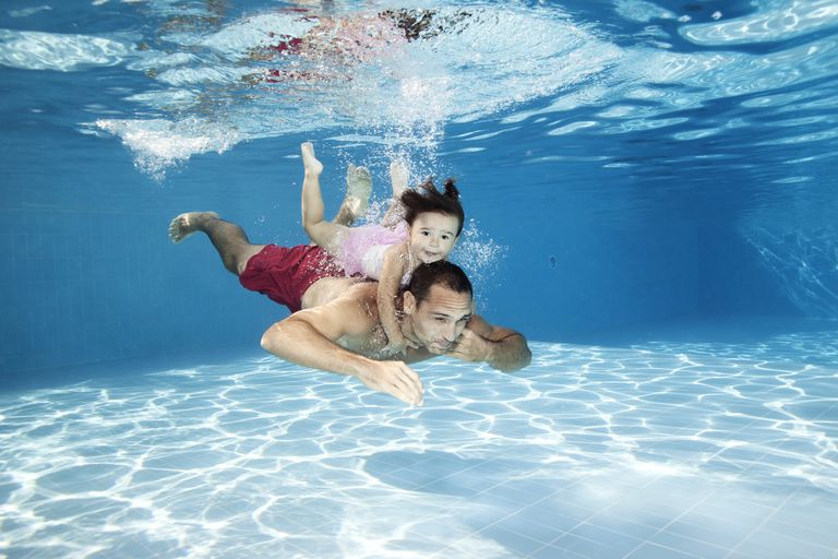 father and daughter swimming in a pool underwater