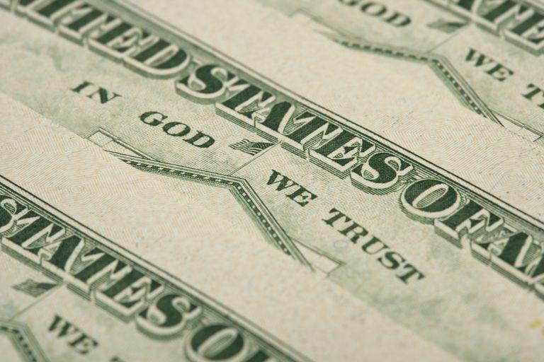 Arrangement of twenty dollar US bank notes showing reverse side