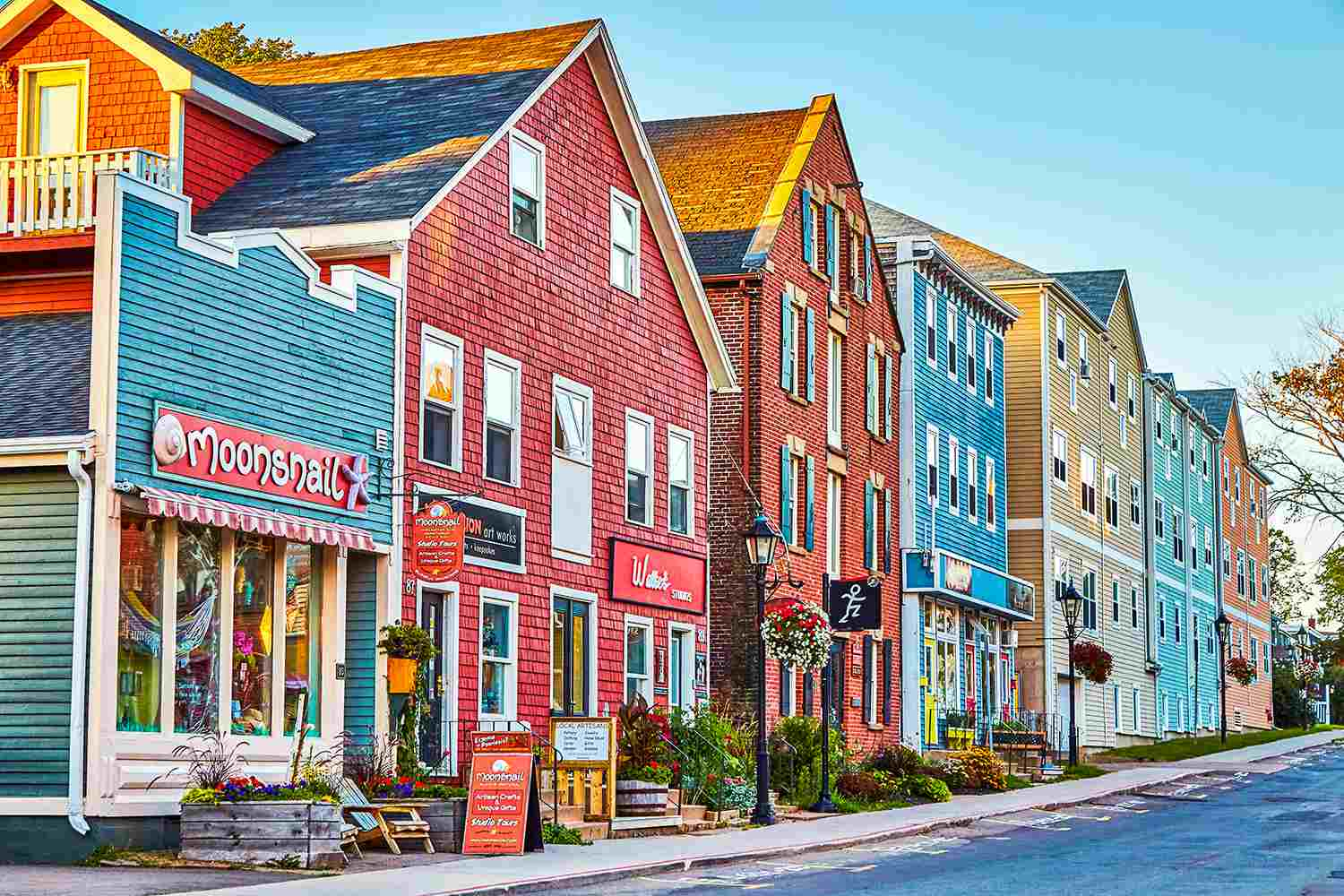 Colourful buildings on streets with shopping in Charlottetown