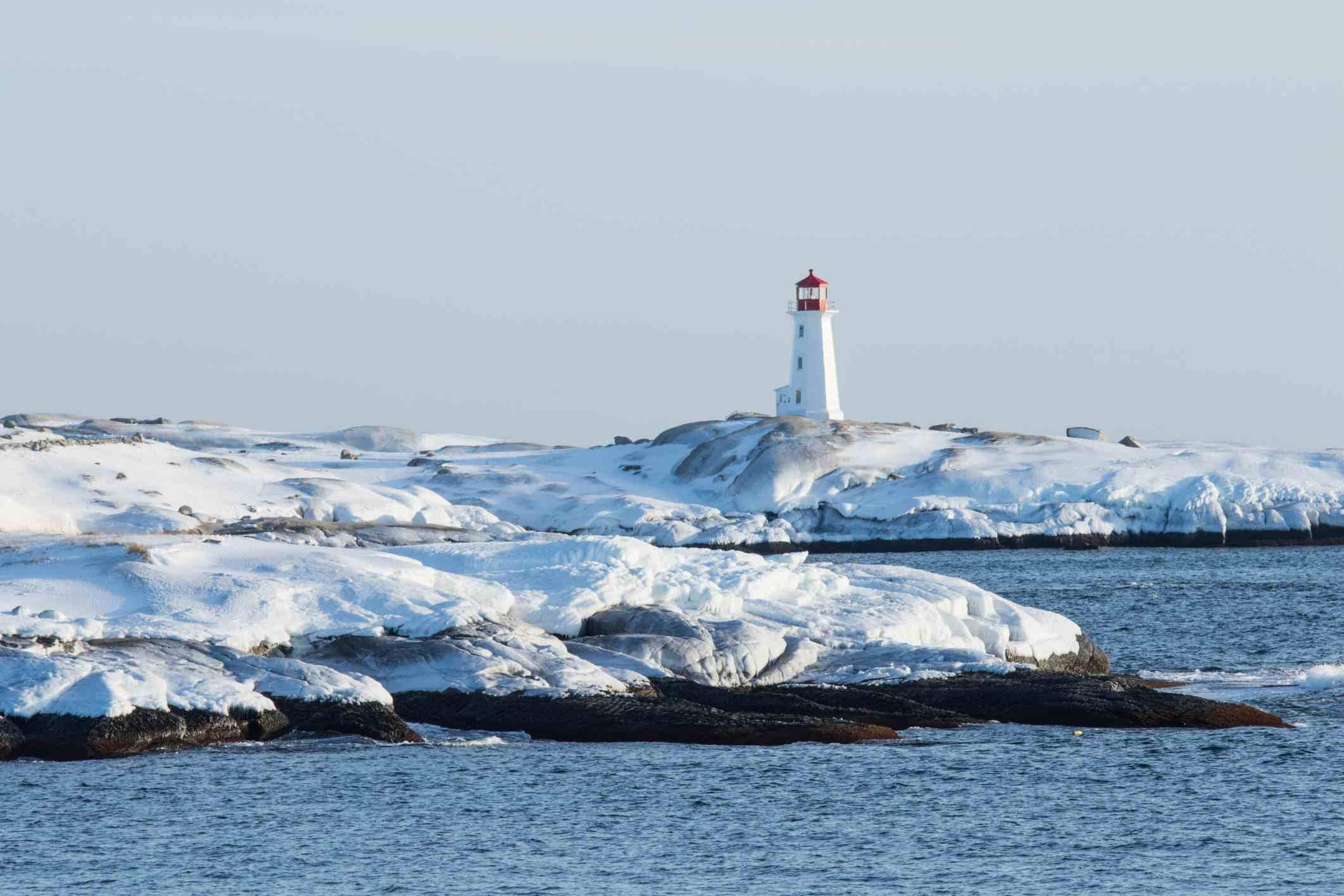 Lighthouse in Nova Scotia, where maritime polar air forms over oceans at high latitudes