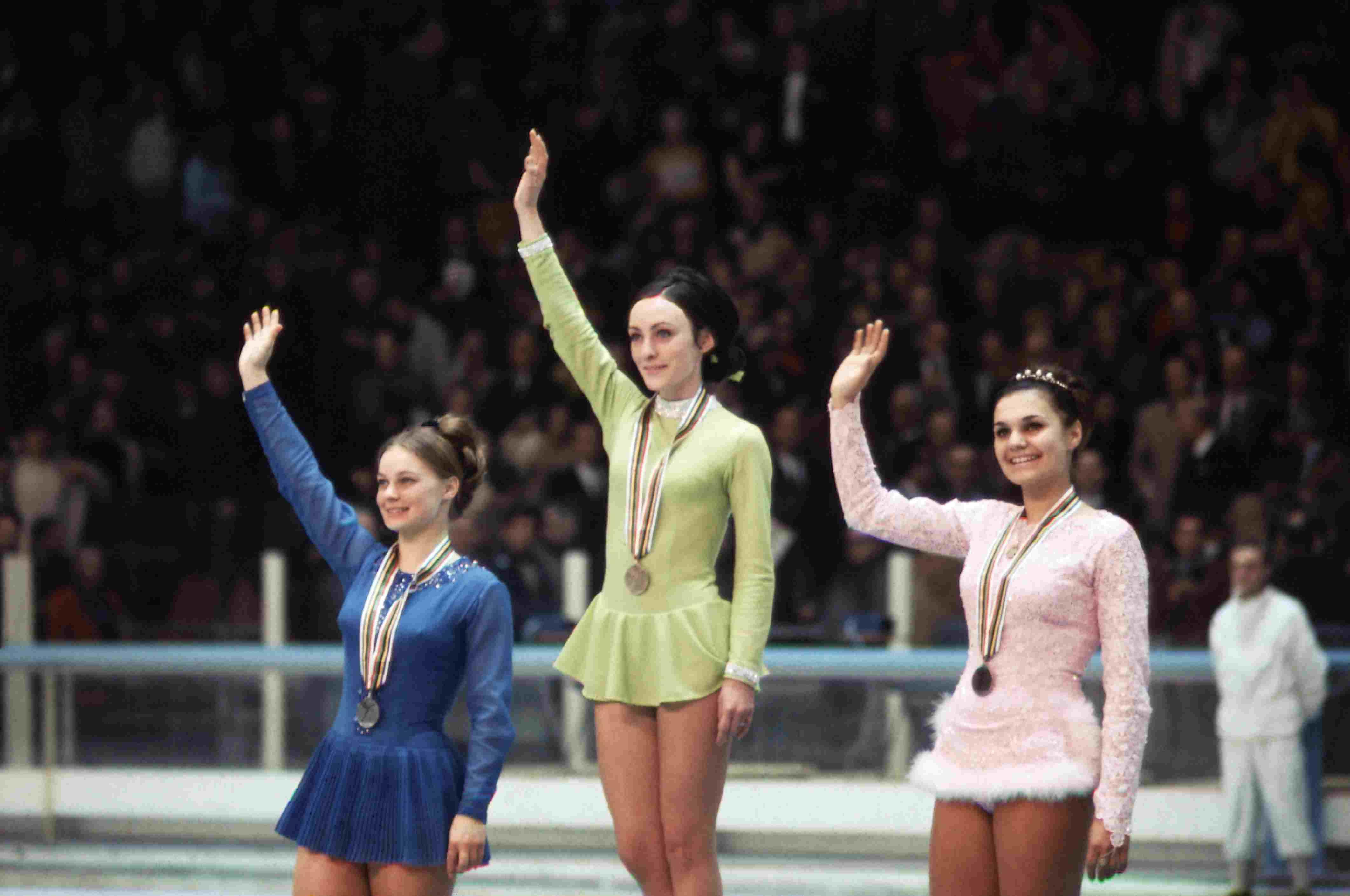 Olympic Ladies Skating Winners Waving