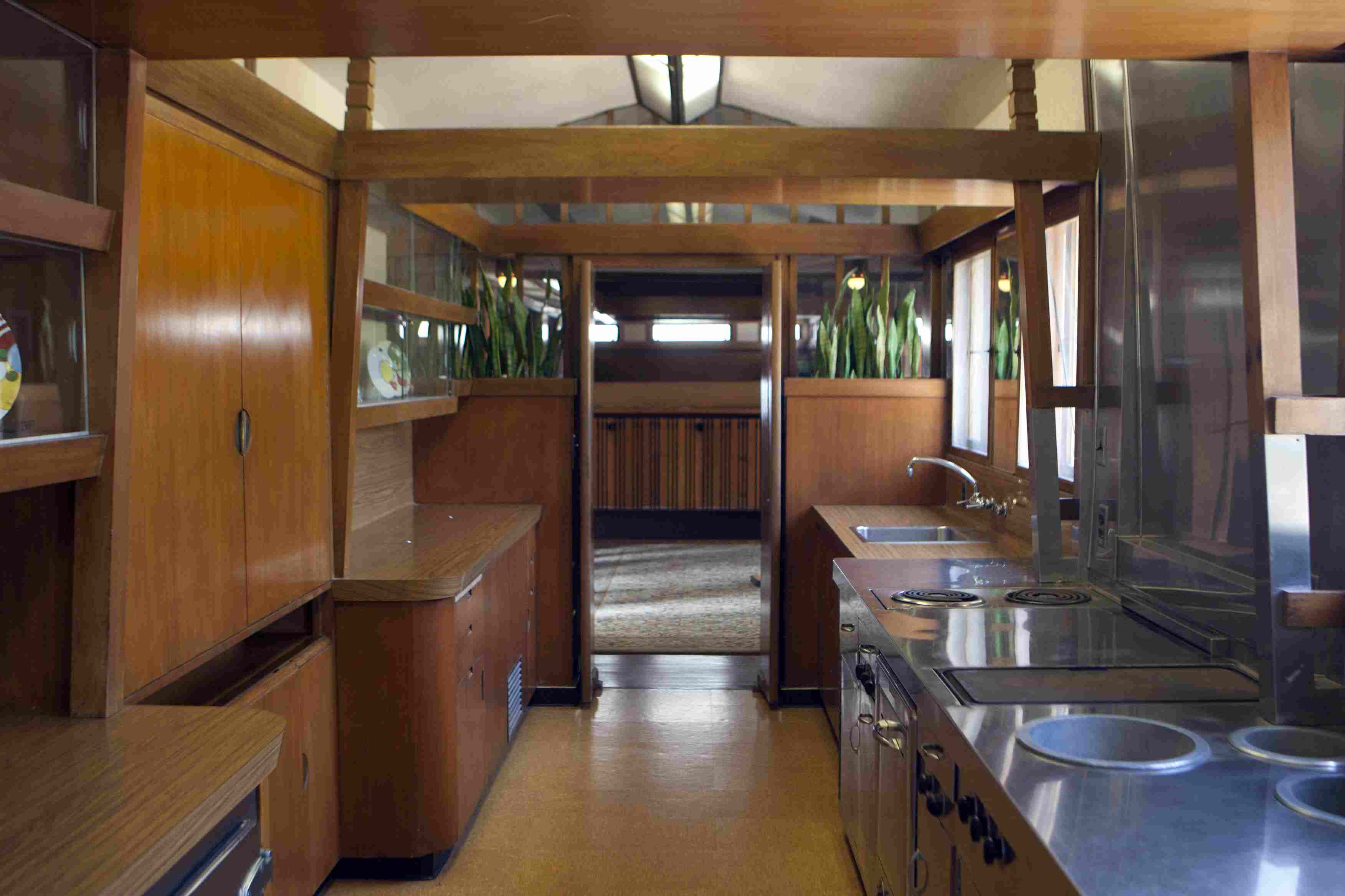 Kitchen of Frank Lloyd Wright's Hollyhock House, 1921, built for Aline Barnsdall in southern California