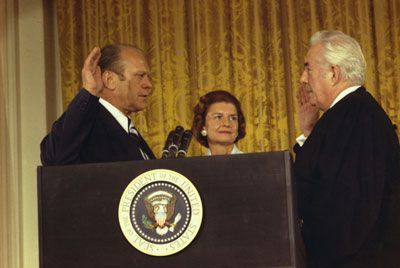 Gerald Ford is being sworn in as the thirty-eighth president upon Nixon's resignation.