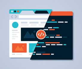 Web graphic illustrating difference between front end and back end views