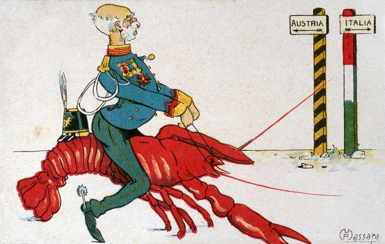 Old cartoon of military man in uniform riding a shrimp.