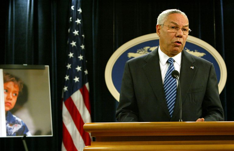 Former Secretary of State Collin Powell addressing human trafficking