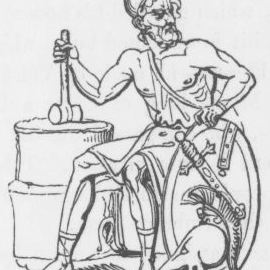 An image of the god Vulcan or Hephaestus from Keightley's Mythology, 1852.