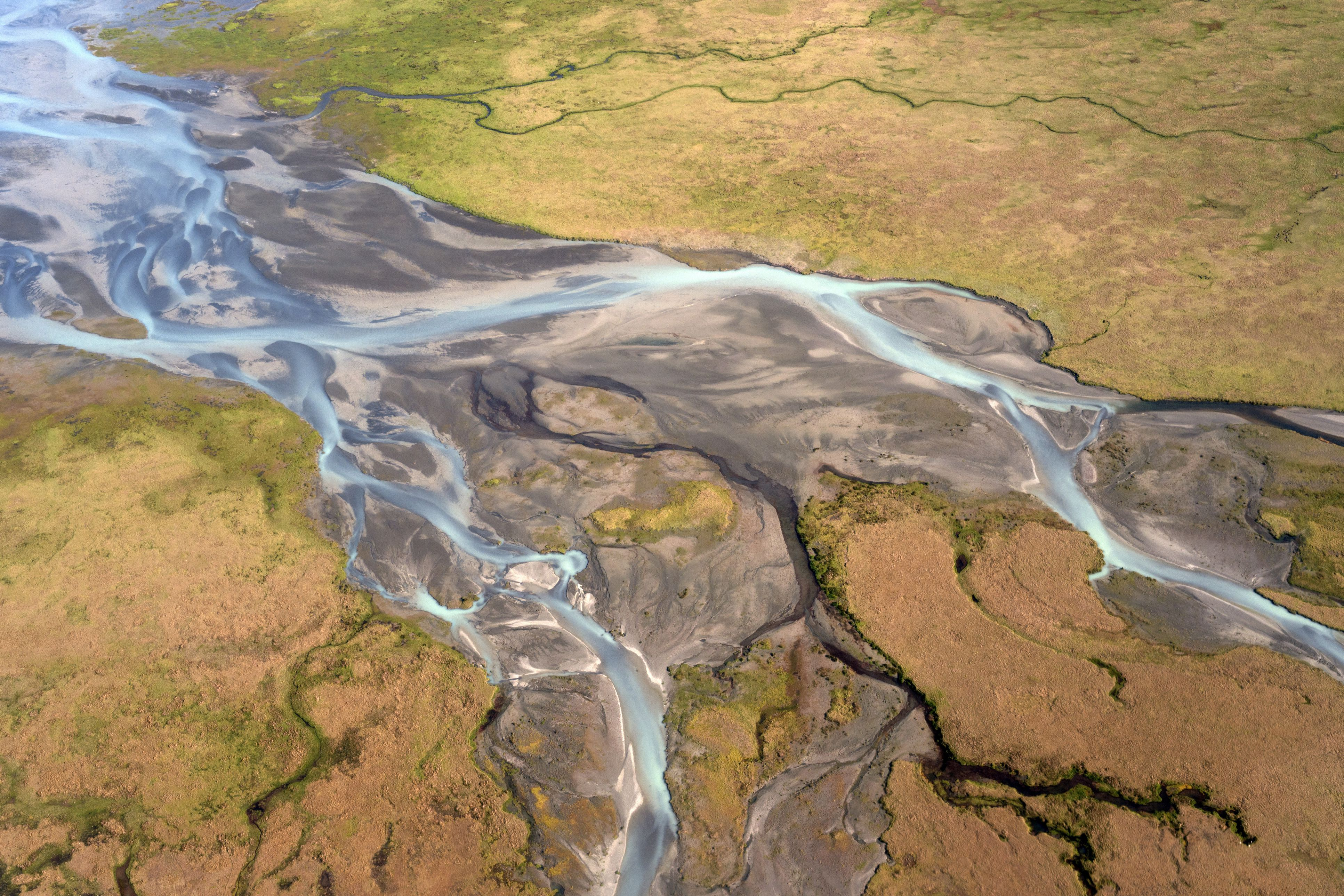 Sandy plain with the glacial runoff of the Joekulsarlon glacier, aerial view, Iceland, Europe