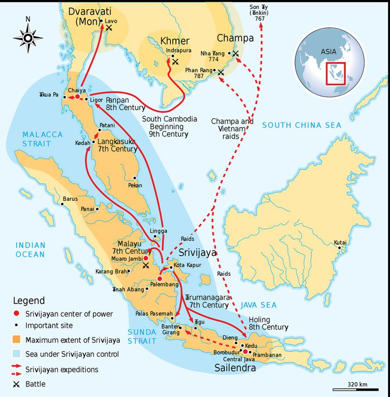 The Srivijaya Empire ruled much of the Indonesian Archipelago in the middle ages.