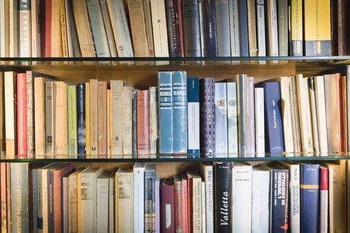 A shelf with multi-colored books