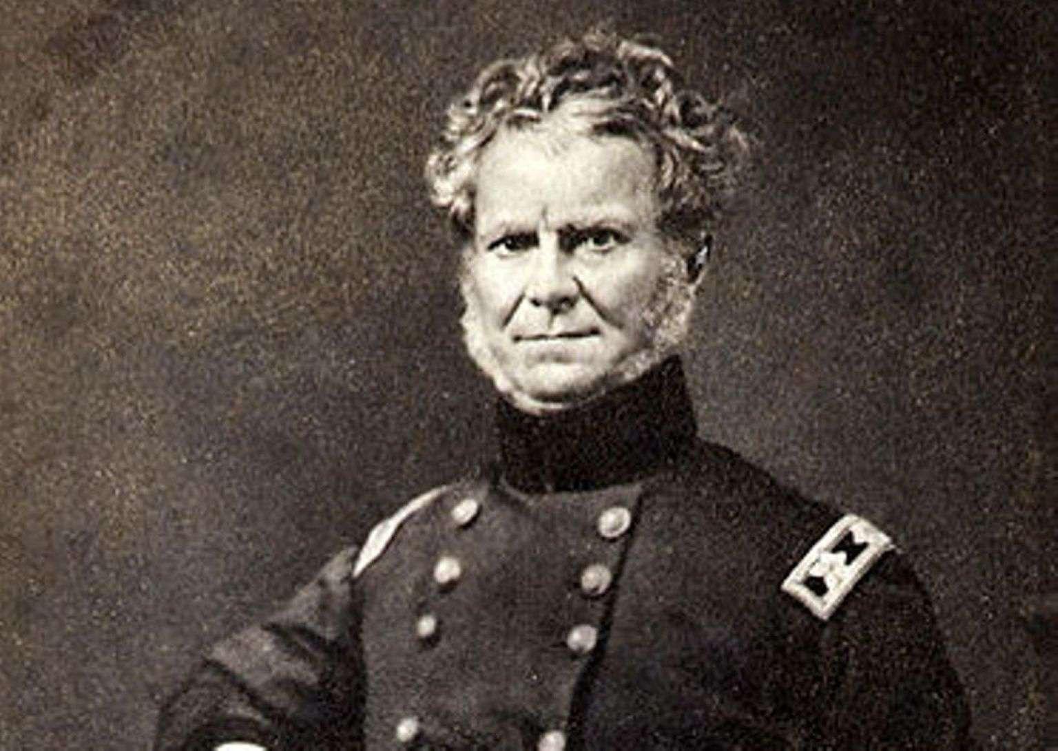 Major General William Worth in blue U.S. Army uniform.