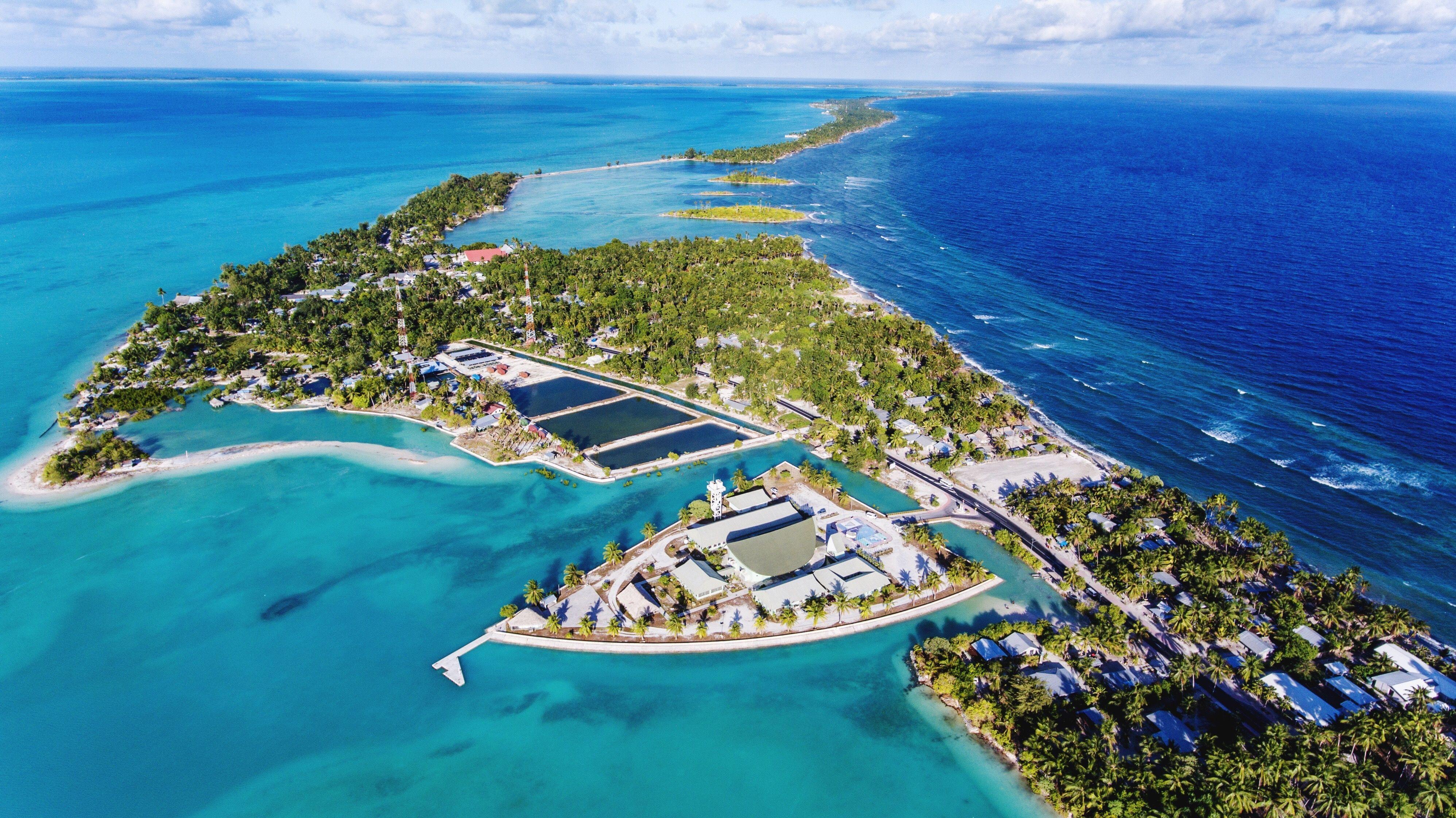 Aerial View of island of kiribati