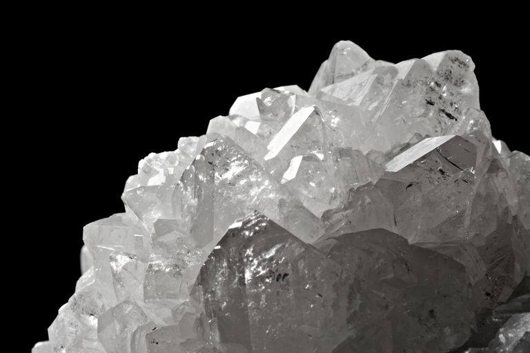 The mineral boron on a black background.