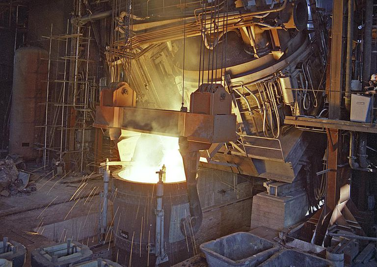 75 ton arc furnace pouring molten steel into a vessel, Sheffield, South Yorkshire, 1969. Artist: Michael Walters