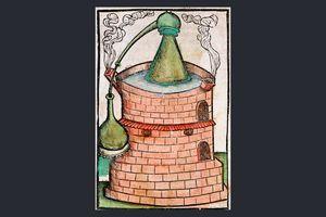 Distillation in a water bath (bain-marie), c. 1500