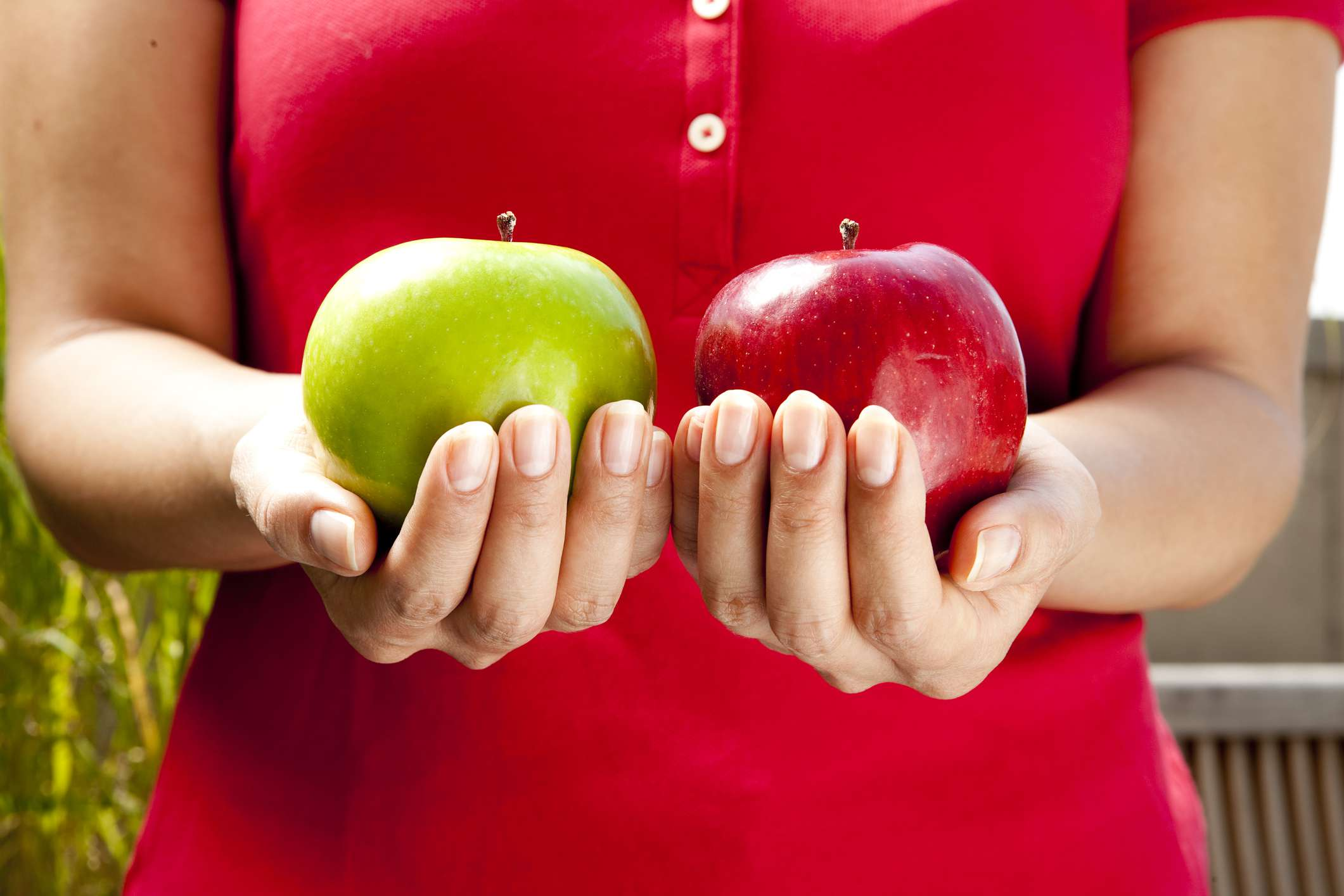 person holding green and red apples