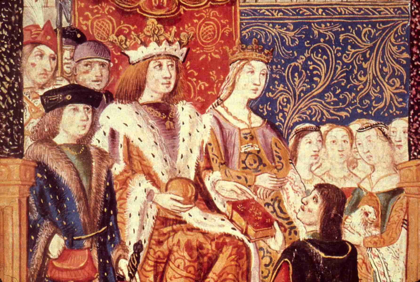 Royal monarchs of Spain Ferdinand and Isabella are depicted in 1469
