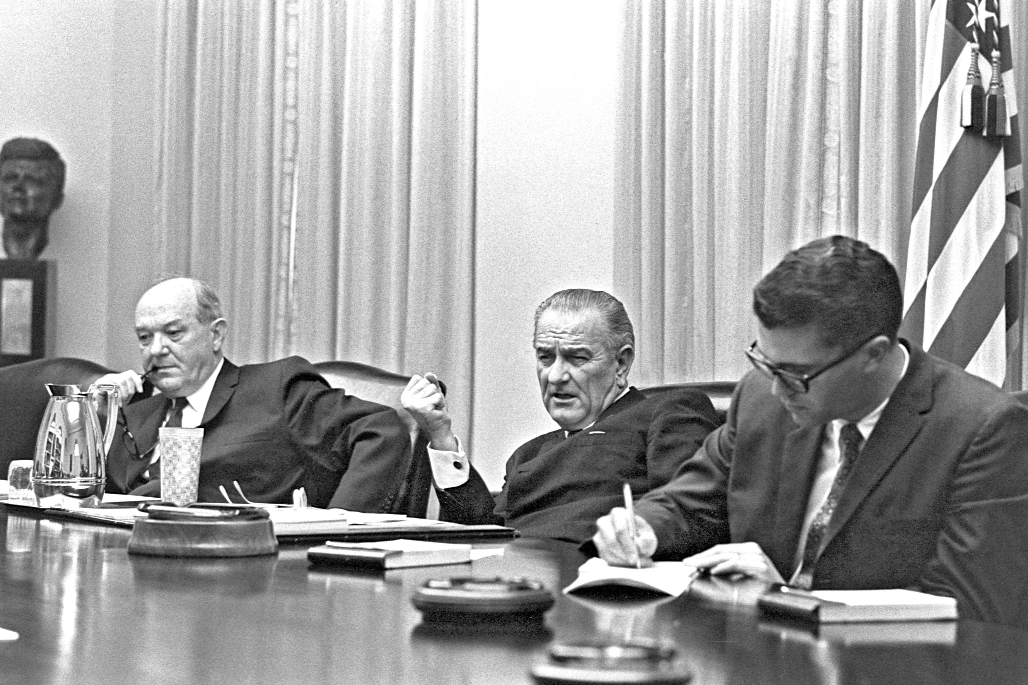 President Lyndon B. Johnson discusses Vietnam with Congress and advisers.