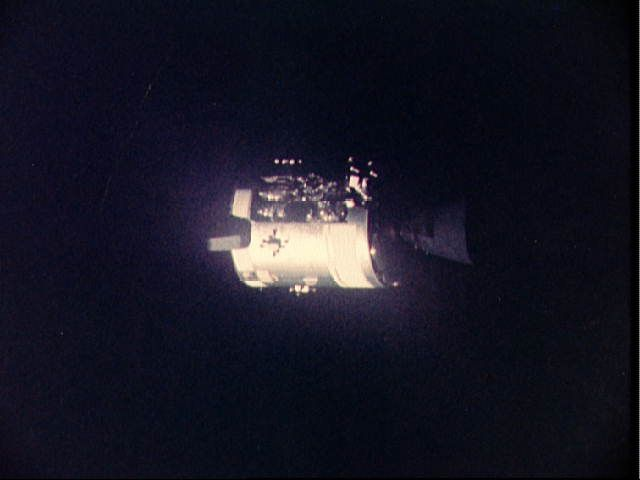 Pictures of Apollo 13 - View of damaged Apollo 13 Service Module from the Lunar/Command Modules