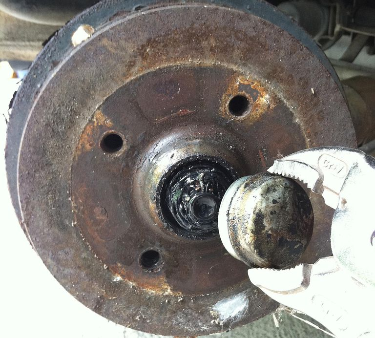 Dust Cap Removed Brake Drum Is Next
