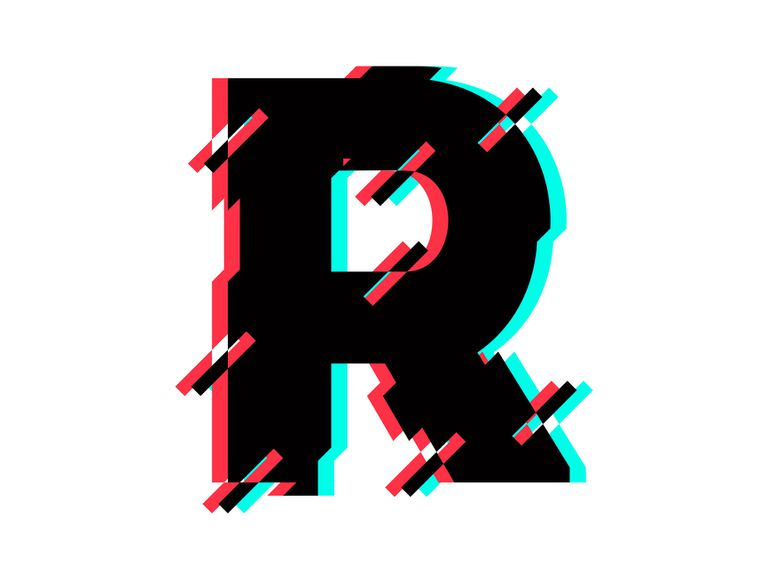 The letter R with red and blue imperfections in it