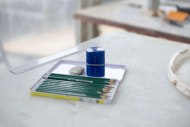 Pencil set with ruler, eraser and sharpener