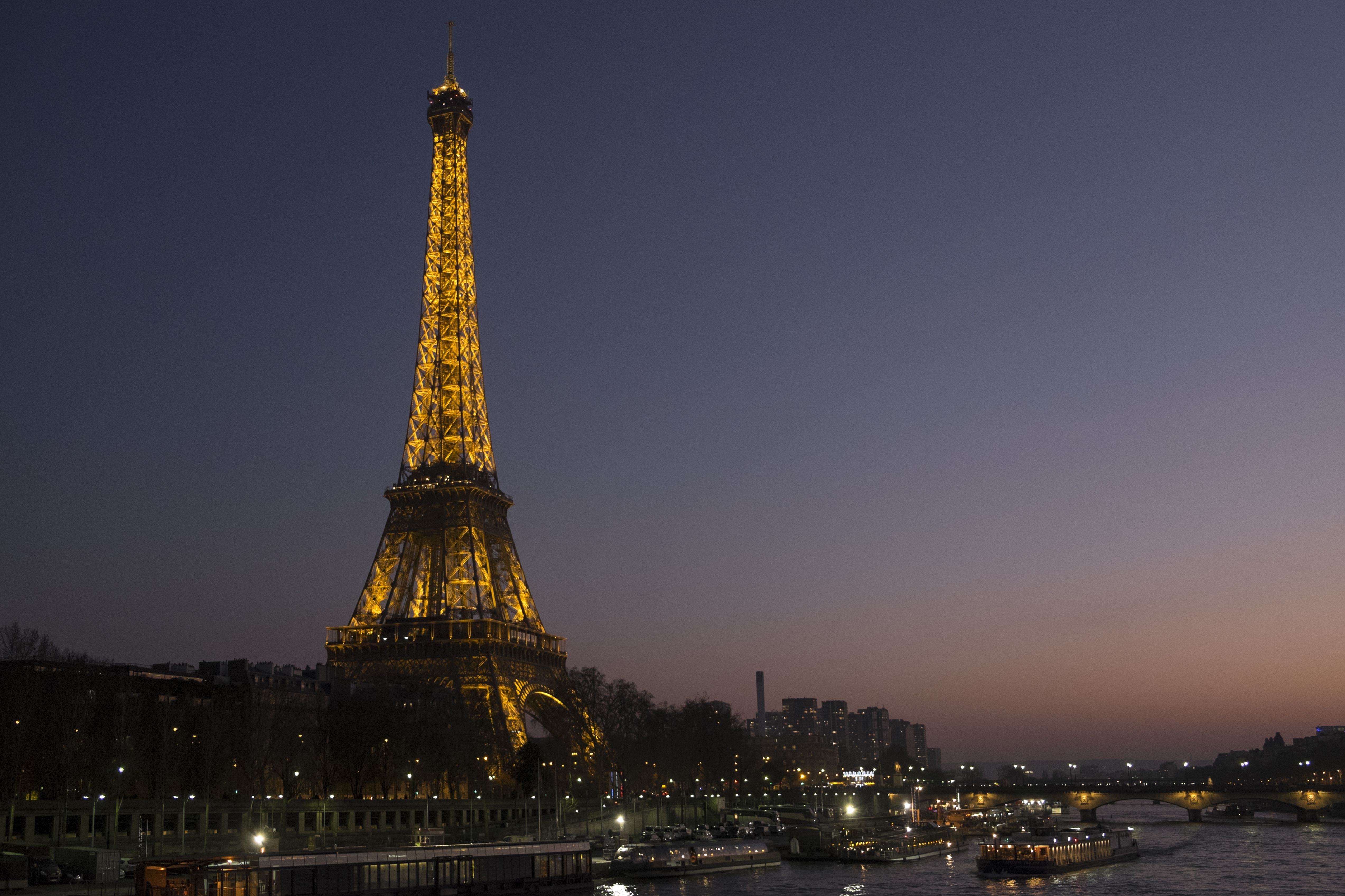 The Eiffel Tower and the River Seine on a Parisian evening