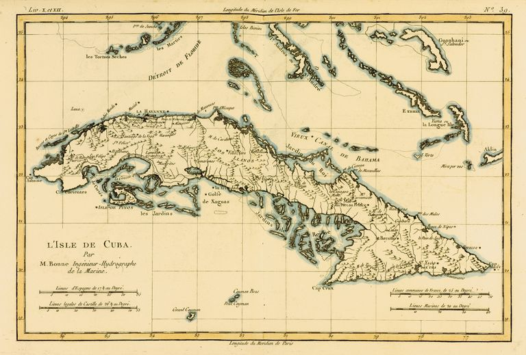 Map Of Cuba Circa. 1760. From 'Atlas De Toutes Les Parties Connues Du Globe Terrestre ' By Cartographer Rigobert Bonne.