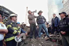 President George W. Bush addressing first-responders at 9/11 attack Ground Zero