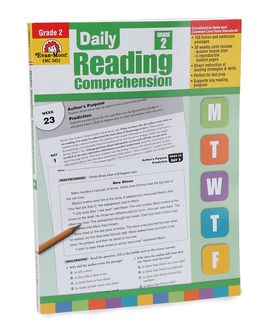 The cover of daily Reading Comprehension shows images of worksheets with a pencil