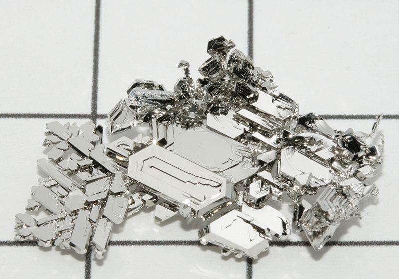 Platinum is a dense, grayish-white transition metal.