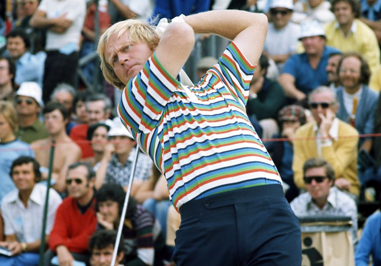 Jack Nicklaus of the USA during the final round of the 1980 Masters Tournament at Augusta National Golf Club on April 13, 1980