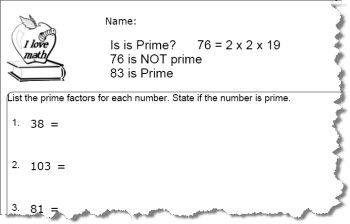 Prime Number Worksheet 10