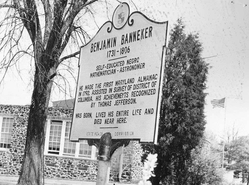 Historical marker honoring Benjamin Banneker at Benjamin Banneker school, Oella, Maryland, 1979.