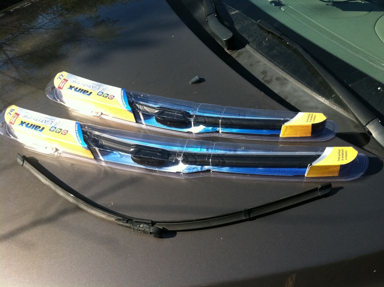 Contoured wiper blades ready for installation or repalacement.