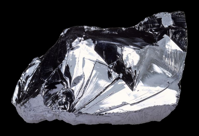 Close-Up Of Silicon Crystal On Black Background