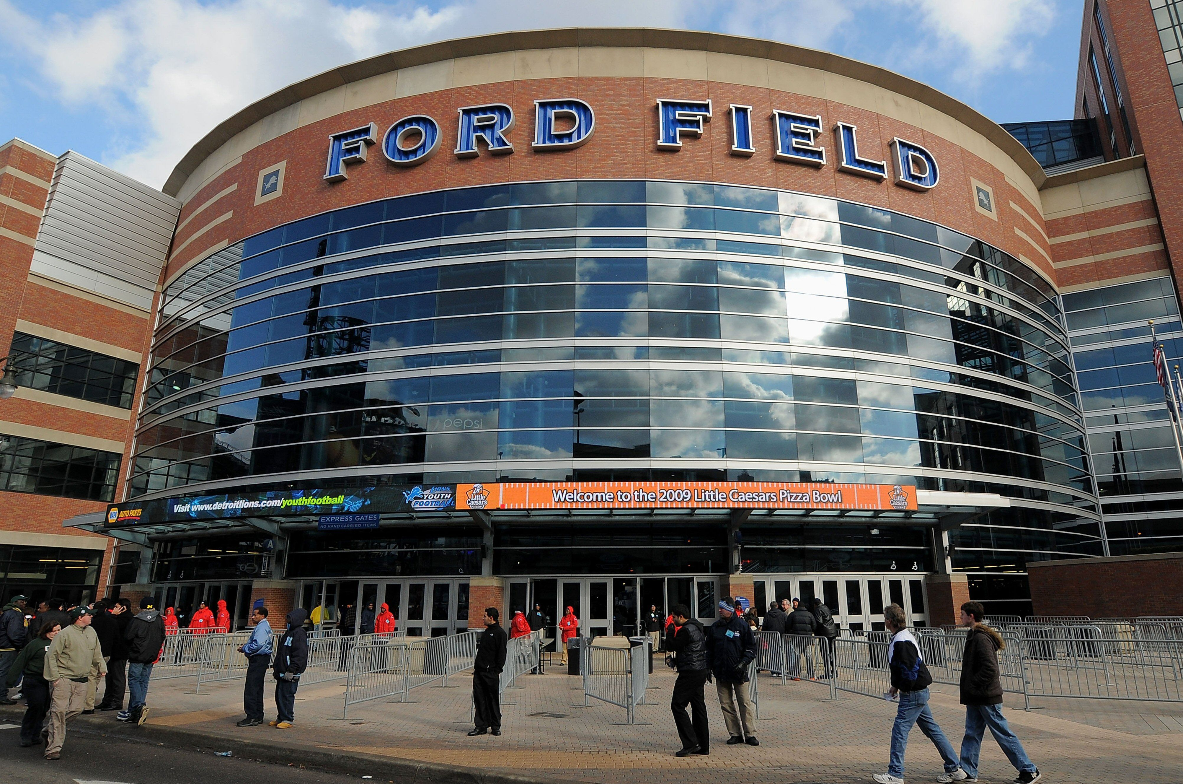 Curved glass entry to Ford Field in Detroit, Michigan
