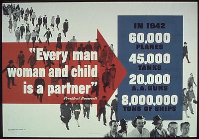 World War II poster urging men, women and children to contribute to the war effort.