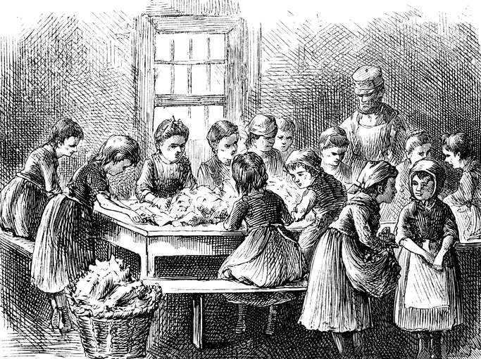 Child Laborers Stripping Tobacco In New York 1873.