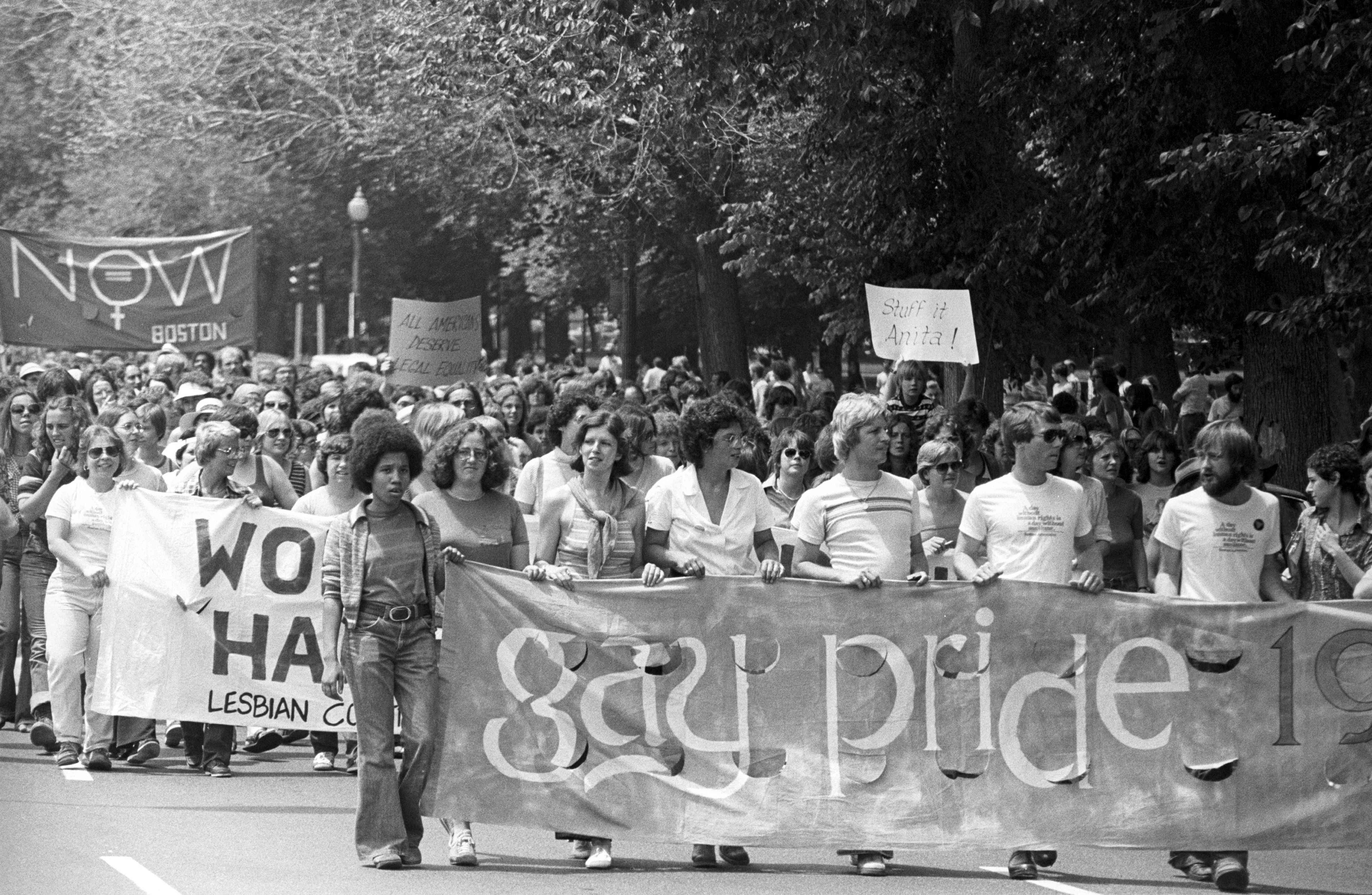 Gay and lesbian pride parade in the Back Bay neighborhood of Boston, 1970.