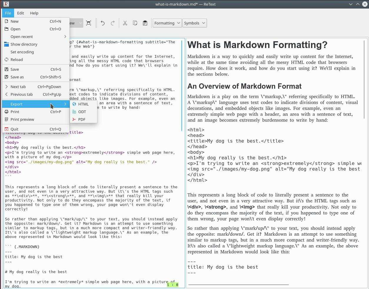 ReText, the Markdown Editor, Showing Live Preview and Export Options.