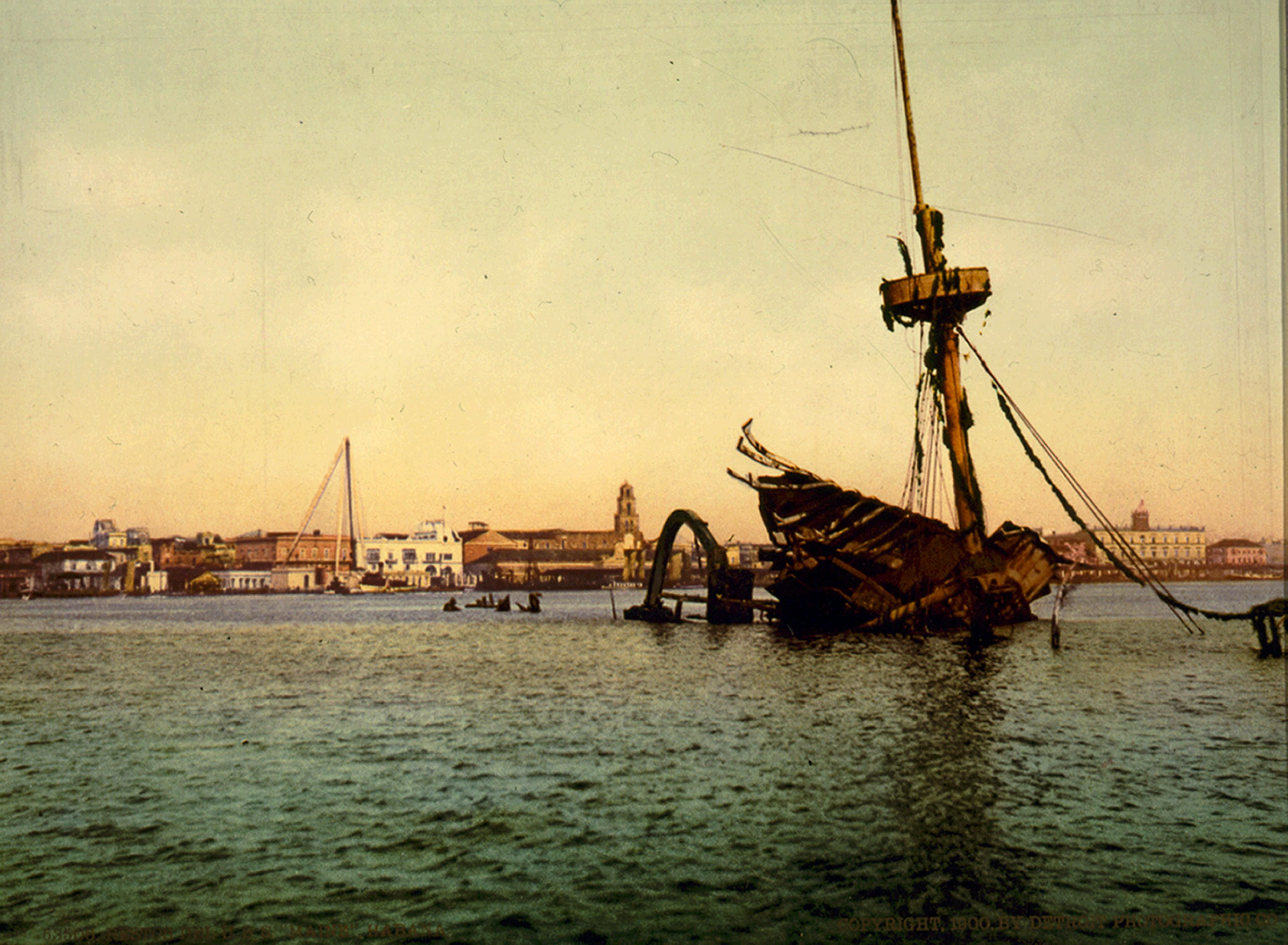 Wreck of the USS Maine in Havana Harbor That Led to the Spanish American War.
