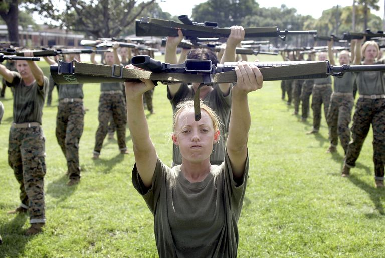 Group of women training to be US Marines