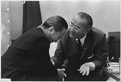 President Nguyen Van Thieu (South Vietnam) and President Lyndon Johnson meet in 1968