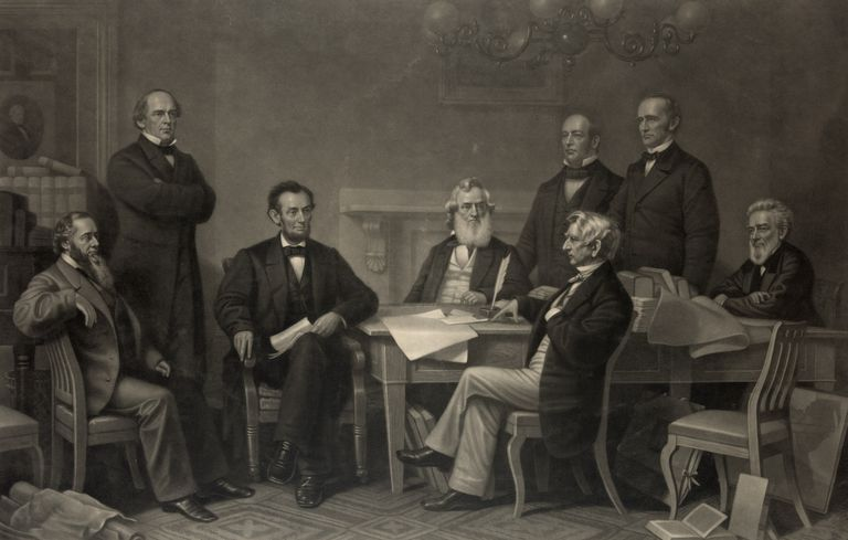 Engraved print of Lincoln reading the Emancipation Proclamation to his cabinet.