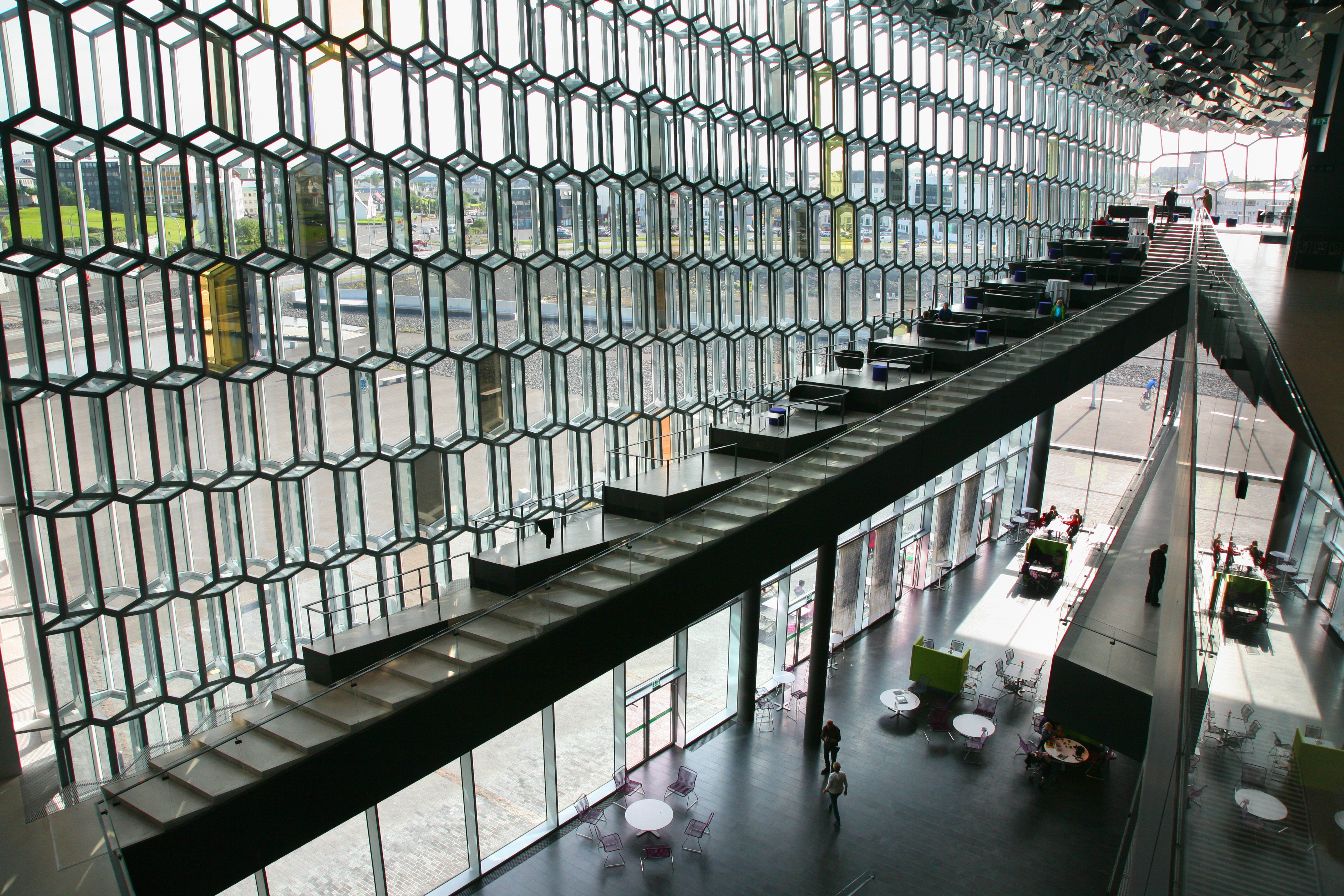 Interior of the Harpa Concert Hall and Conference Center in Reykjavik, Iceland
