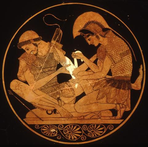 Achilles tending Patroclus' wounds from a red-figure kylix by the Sosias Painter from about 500 B.C.